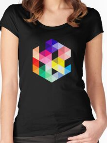 Geometric Color Cube Women's Fitted Scoop T-Shirt