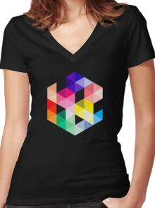 Geometric Color Cube Women's Fitted V-Neck T-Shirt