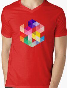 Geometric Color Cube Mens V-Neck T-Shirt
