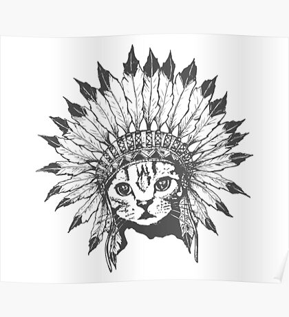 Indian Chief Cat Poster