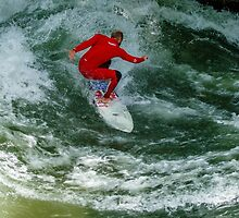 River Surfing on the Eisbach, Munich by fotosic