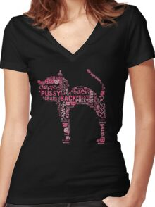 Pussy Grabs Back Pink Cat Word Mosaic Women's Fitted V-Neck T-Shirt