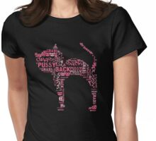 Pussy Grabs Back Pink Cat Word Mosaic Womens Fitted T-Shirt
