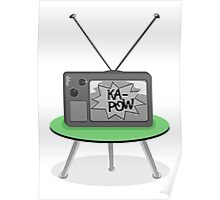 Ka-Pow Black and White Television Poster