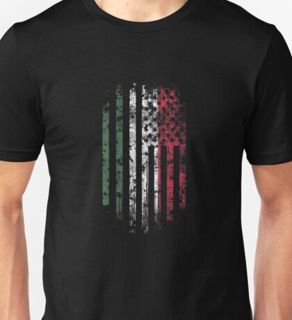 Hungary and America Flag Combo Distressed Design Unisex T-Shirt