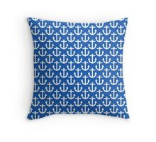 Blue with White Anchors Pattern Throw Pillow