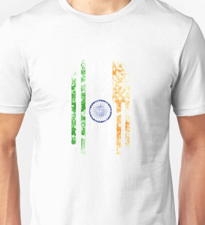 India and America Flag Combo Distressed Design Unisex T-Shirt