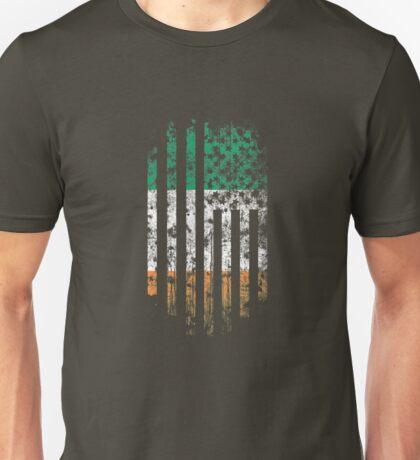 Ireland and America Flag Combo Distressed Design Unisex T-Shirt