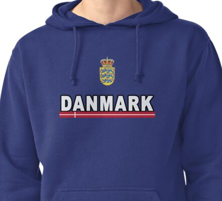 Danmark Danish National Team Jersey Style Pullover Hoodie