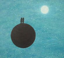 Soul Mates on Planet with Moon and Stars by Claudine Peronne