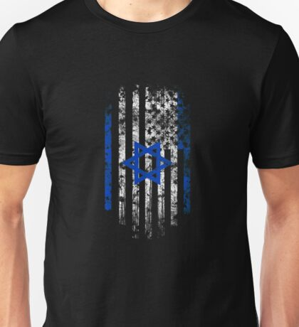 Israel and America Flag Combo Distressed Design Unisex T-Shirt