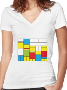 Mondrian ca 1989 - The Simpsons Women's Fitted V-Neck T-Shirt