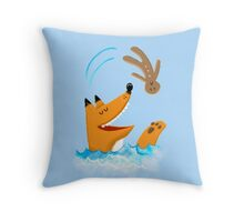 The fox and the gingerbread man Throw Pillow