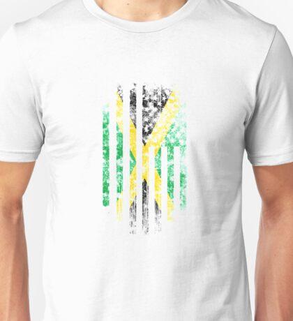 Jamaica and America Flag Combo Distressed Design Unisex T-Shirt