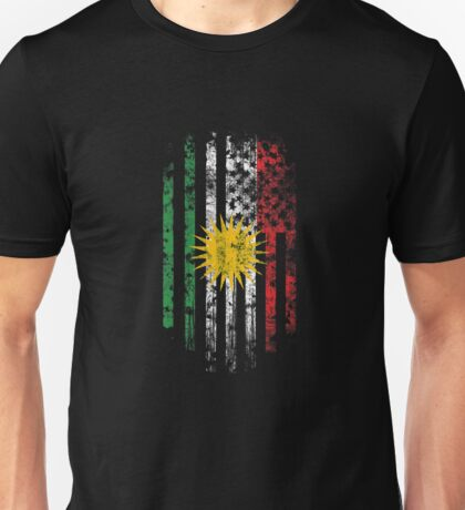 Kurdish and America Flag Combo Distressed Design Unisex T-Shirt
