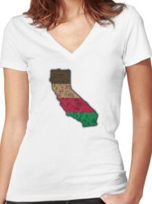 California State Map Outline Women's Fitted V-Neck T-Shirt
