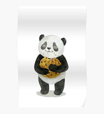 happy panda with cookie Poster