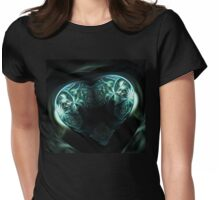 Crystal stylized heart, in the style of Gothic jewelery Womens Fitted T-Shirt
