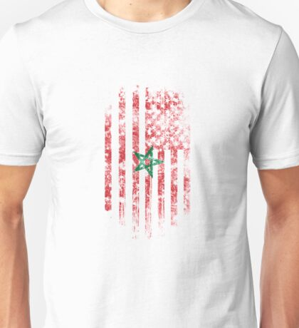 Morocco and America Flag Combo Distressed Design Unisex T-Shirt