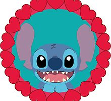 Cute Stitch and little hearts by LikeYou