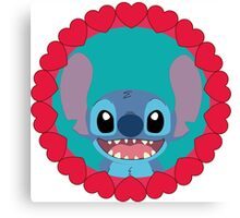 Cute Stitch and little hearts Canvas Print