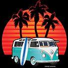 Split Window VW Bus Surfer Van with Palms by Frank Schuster