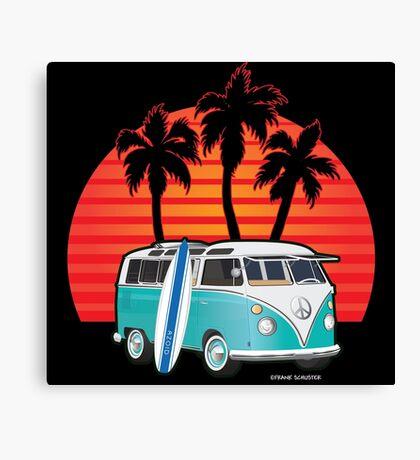 Split Window VW Bus Surfer Van with Palms Canvas Print