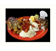 CHIPPY THIS BEATS THE HECK OUT OF NUTS YUM!! >>FUN BREAKFAST WITH CHIPMUNKS PICTURE AND OR CARD Art Print