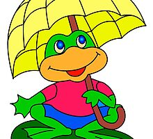 the young frog with an umbrella by mski