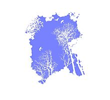 Forest Silhouette in Sky Blue Photographic Print