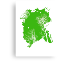 Forest Silhouette in Green Canvas Print