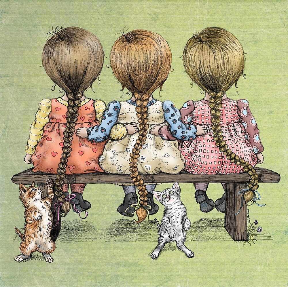 girls and kittens by vian