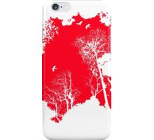 Forest Silhouette in Light Bright Red iPhone Case/Skin
