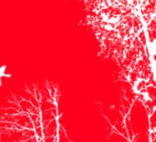 Forest Silhouette in Light Bright Red Sticker