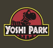 Super Mario World Yoshi Park Jurassic Park Distressed Tee by DeepFriedArt