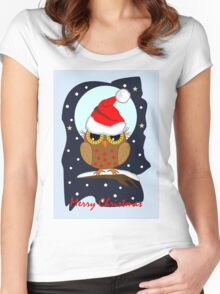 Cute Santa hat Owl Merry Christmas text card Women's Fitted Scoop T-Shirt