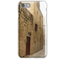 The Silent City - Big Walls Closing in and an Inviting Red Door in Mdina, Malta iPhone Case/Skin