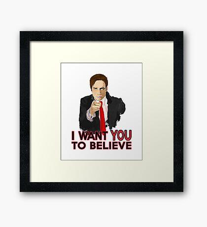 Mulder I Want To Believe Framed Print