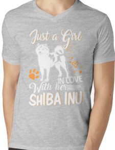 Just Girl In Love With Her Shiba Inu Mens V-Neck T-Shirt