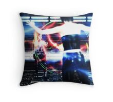 3d woman shooting Throw Pillow