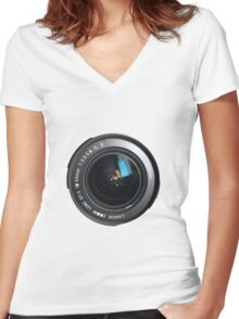 Camera Close Up Lens Women's Fitted V-Neck T-Shirt