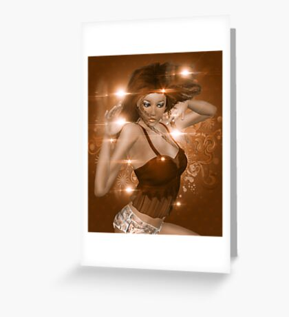 Girl on Brown background with floral Greeting Card