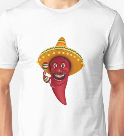 Red chili pepper dancing with maracas Unisex T-Shirt