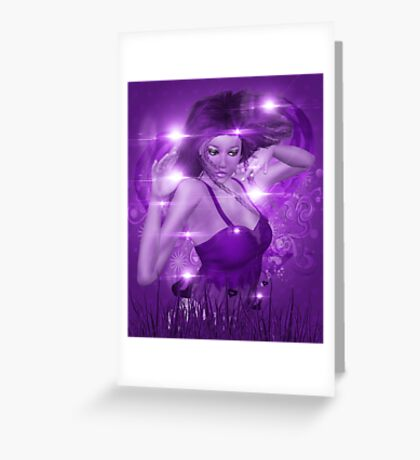 Girl on Violet background with floral Greeting Card