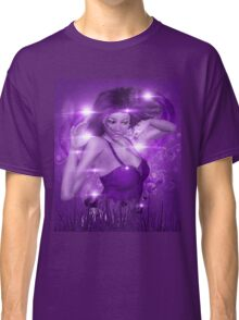 Girl on Violet background with floral Classic T-Shirt