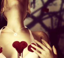 Girl with Bloody Heart Sticker