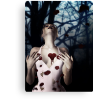 Girl with Bloody Heart 2 Canvas Print