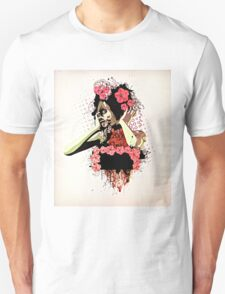Girl and red petunias Unisex T-Shirt
