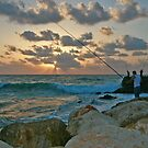 Fishermen at Sunset by Nira Dabush