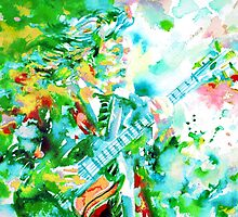 ANGUS YOUNG playing the GUITAR - watercolor portrait by lautir